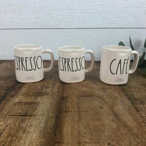 Set of 3 Rae Dunn Espresso Mugs Cafe